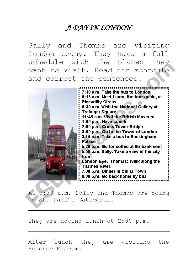 A DAY IN LONDON worksheet