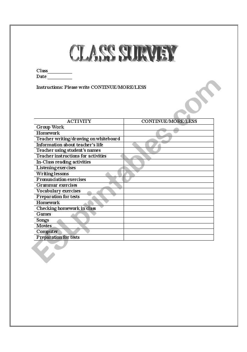 English Worksheets Class Feedback Form