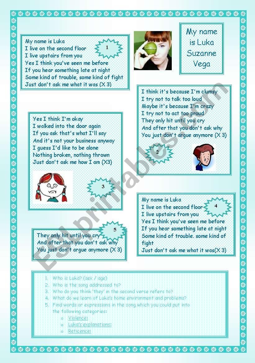 My name is luka - Susan Vega - ESL worksheet by catimini18