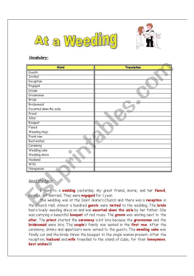 At a weeding worksheet