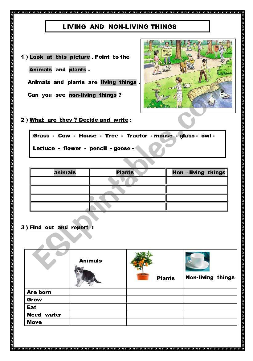 Living and non- living things worksheet