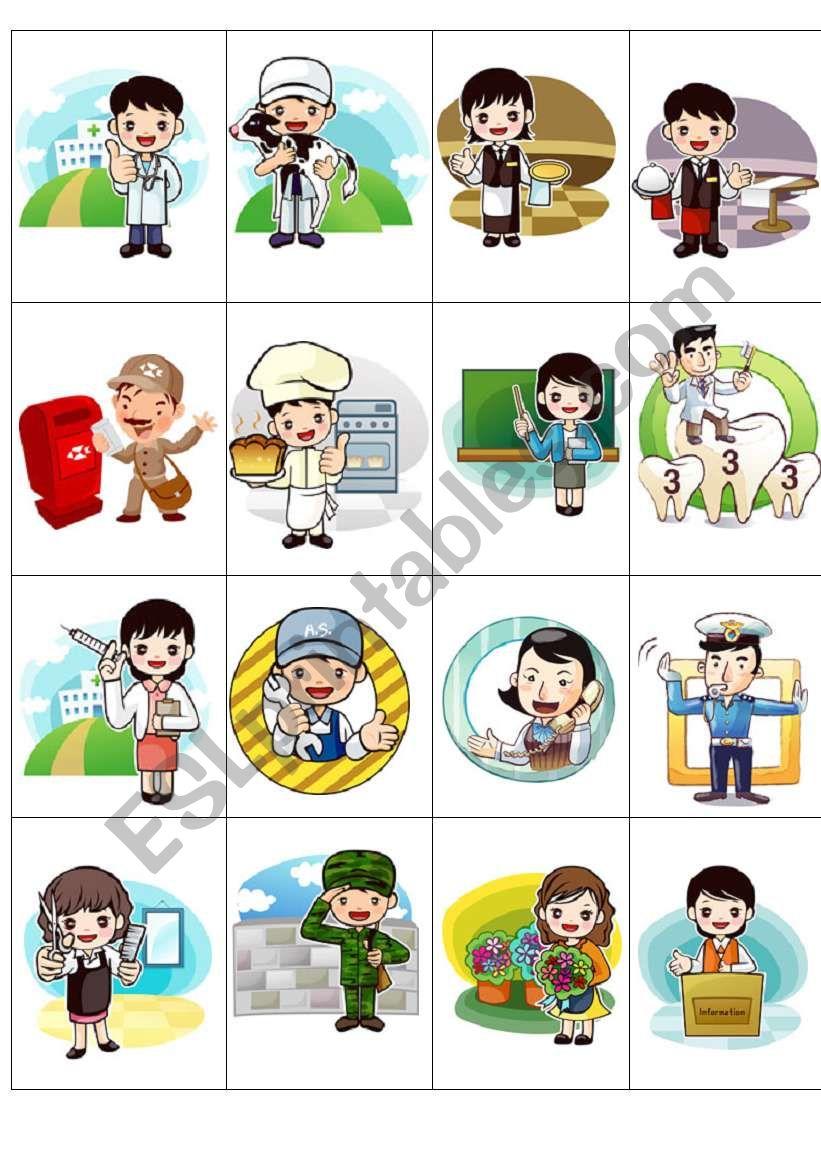 Jobs mini-cards worksheet