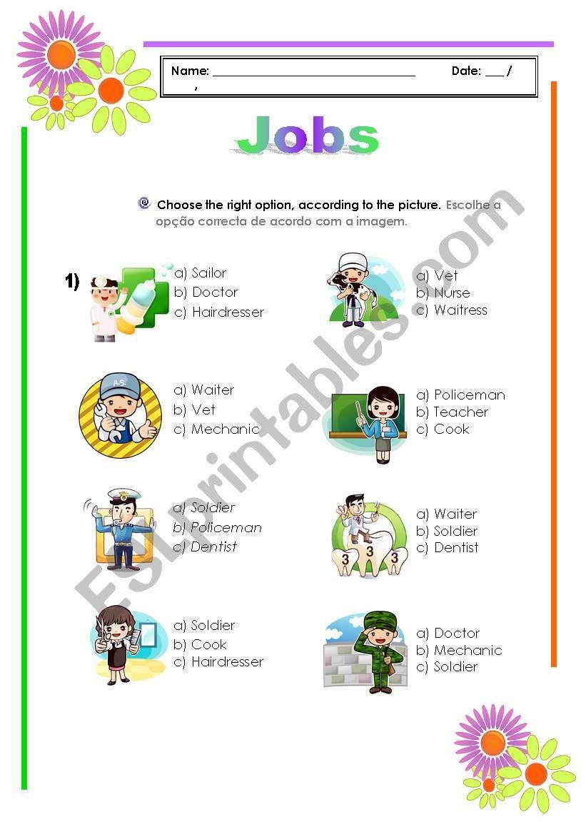 Jobs worksheet worksheet