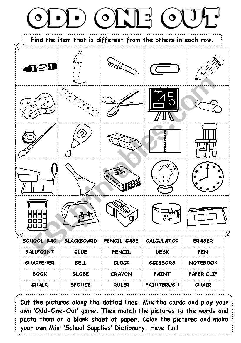 Odd-One-Out (series) - school supplies