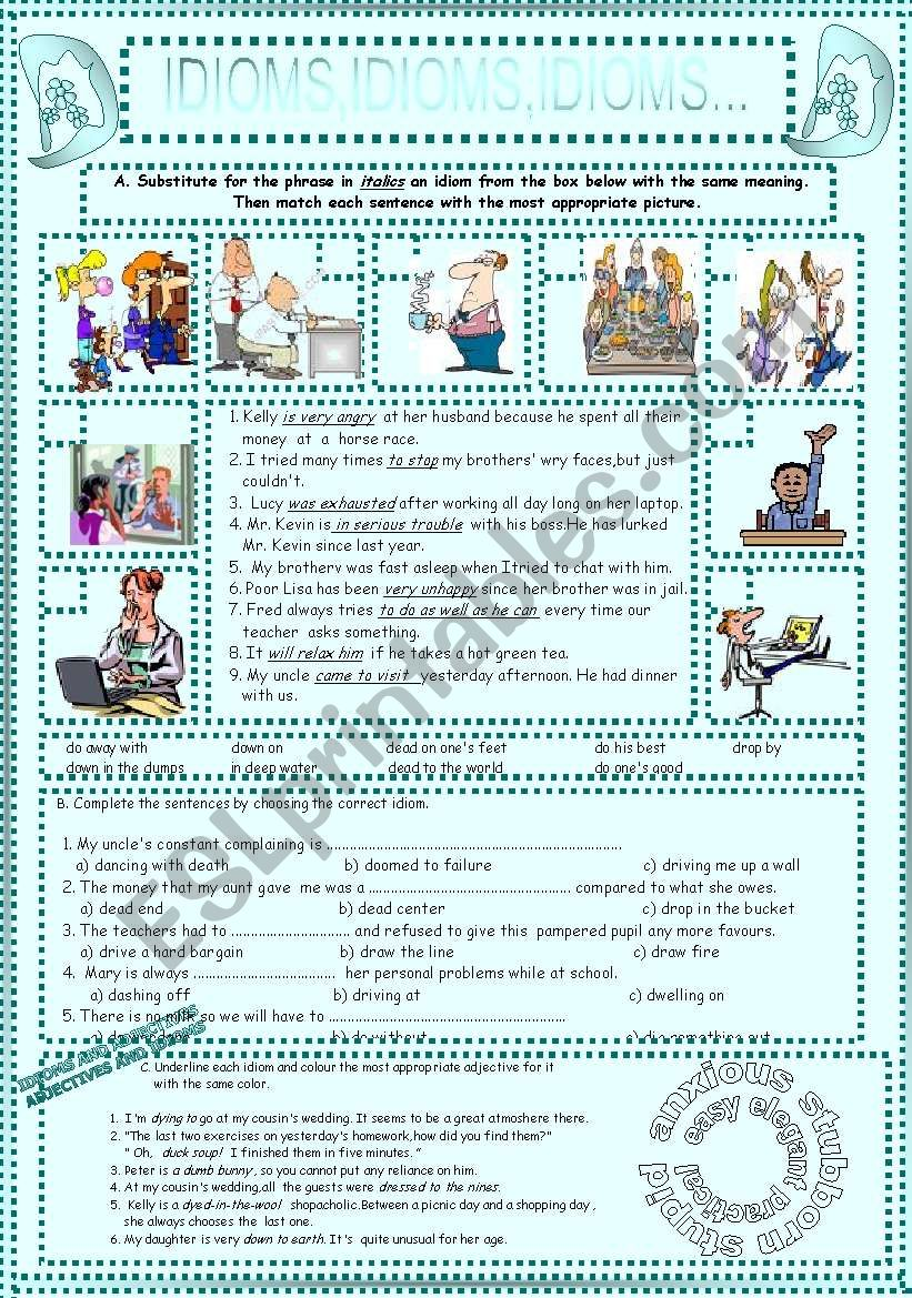 IDIOMS,IDIOMS,IDIOMS...(4) worksheet