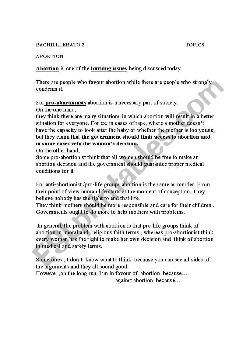 english worksheets some ideas to write an essay on abortion debate some ideas to write an essay on abortion debate