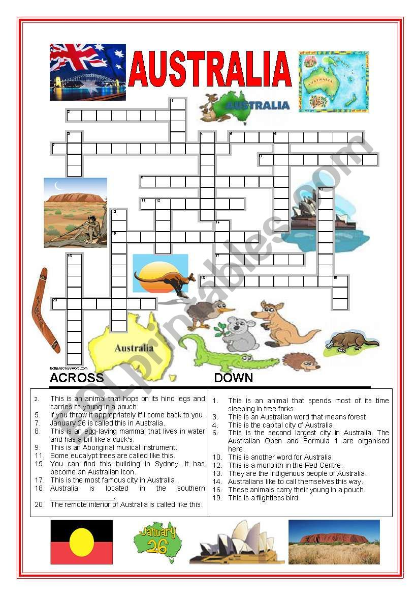 Australia crossword worksheet