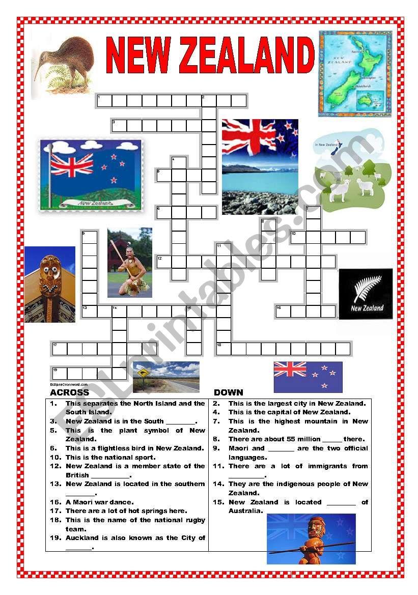 New Zealand crossword worksheet