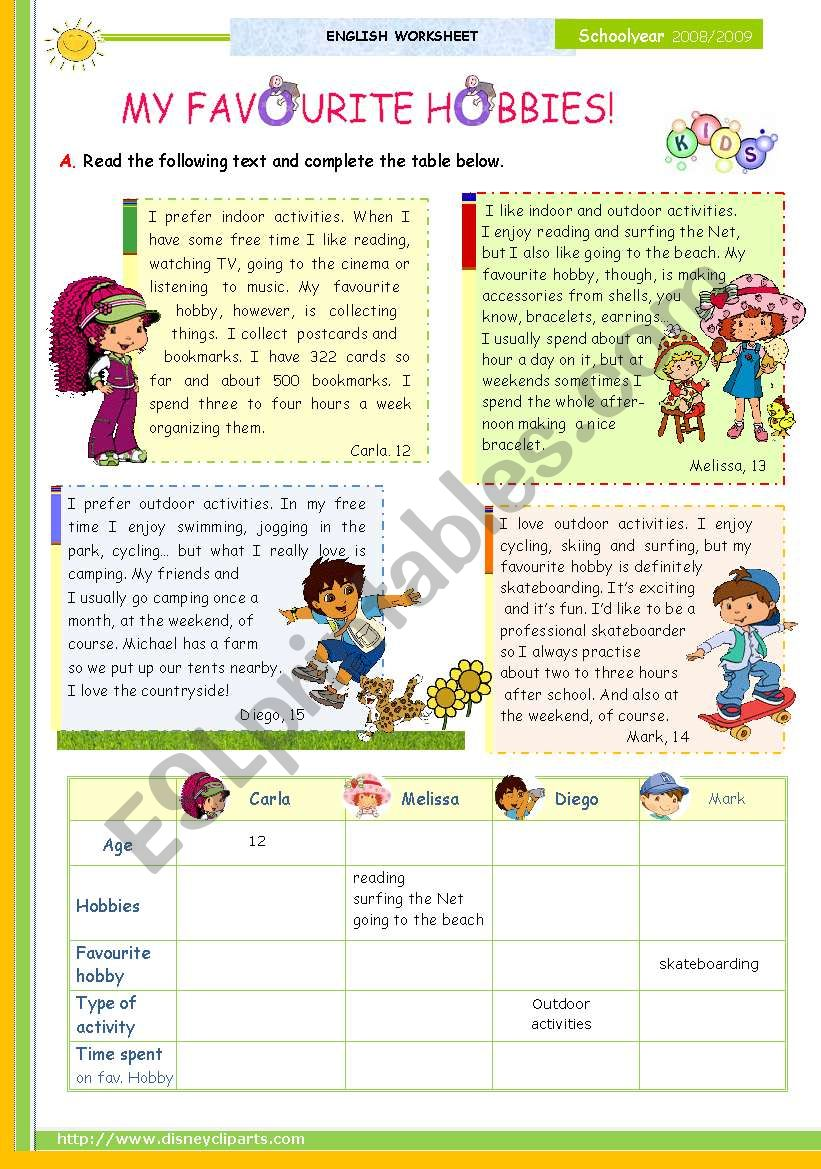 The 1st 45-minute-lesson (of 2) on the topic My Favourite Hobbies -- Reading Comprehension for Upper Elementary and Lower intermediate students