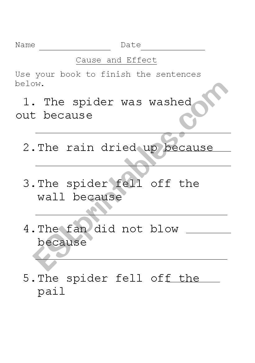 Cause and Effect: The Itsy Bitsy Spider