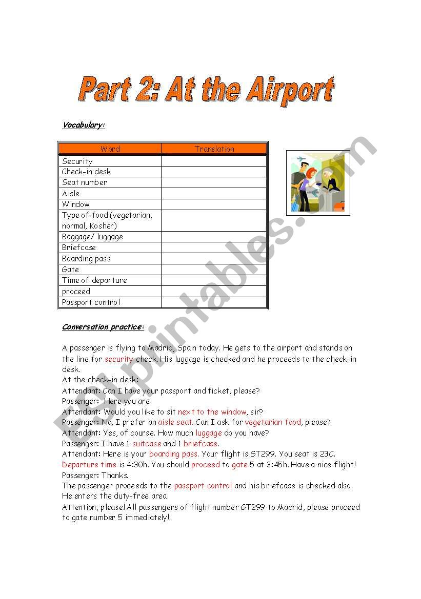 Part 2 - At the Airport worksheet