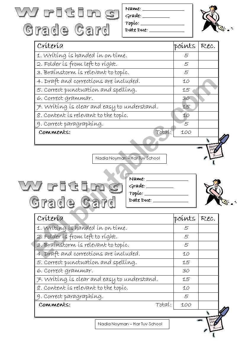 Writin gGrade Card worksheet