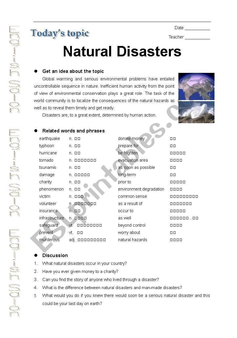 Natural Disaster Esl Worksheet By Echolin