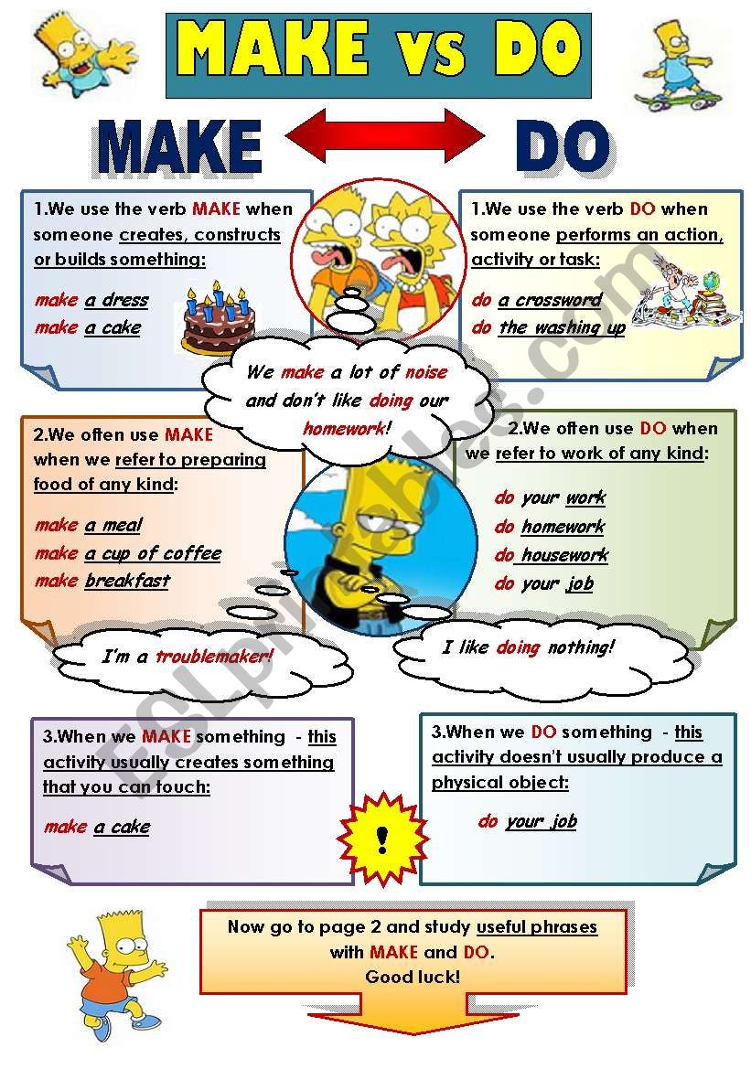 MAKE vs DO! - GRAMMAR-GUIDE FOR TEENS AND ADULTS WITH GRAMMAR EXPLANATION AND A LIST OF USEFUL PHRASES WITH MAKE AND DO (2 pages)