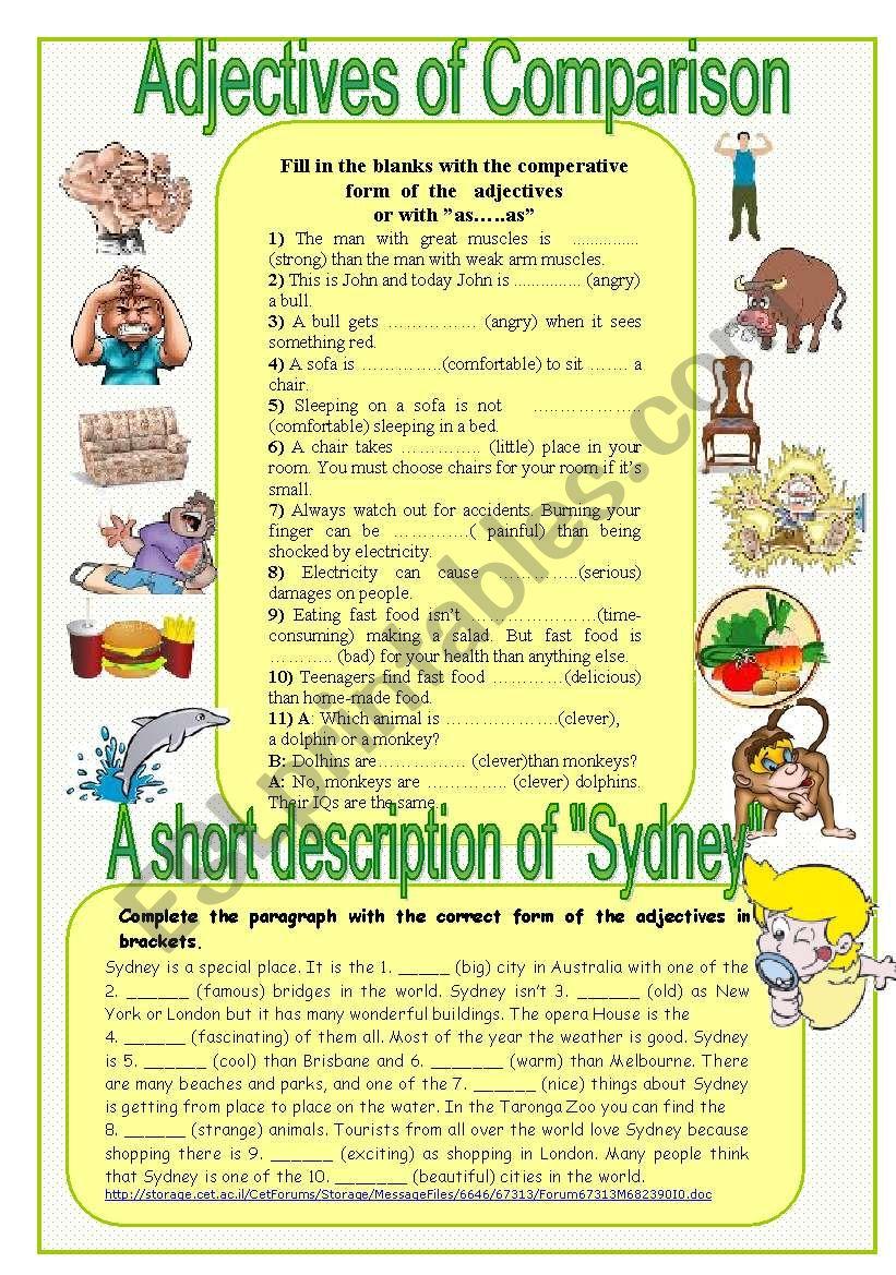 adjectives of comparison worksheet