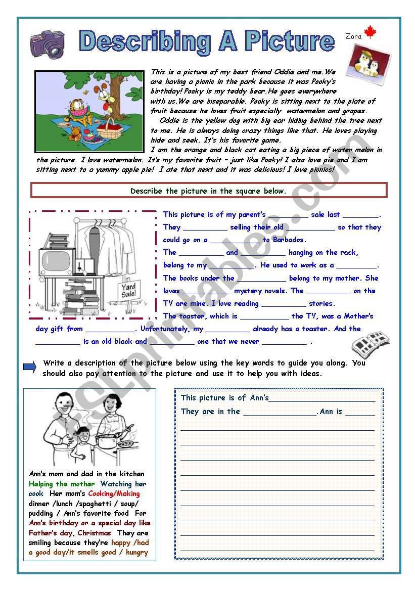 Describing a Picture worksheet