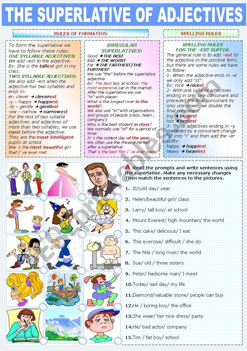 THE SUPERLATIVE OF ADJECTIVES (TWO PAGES)