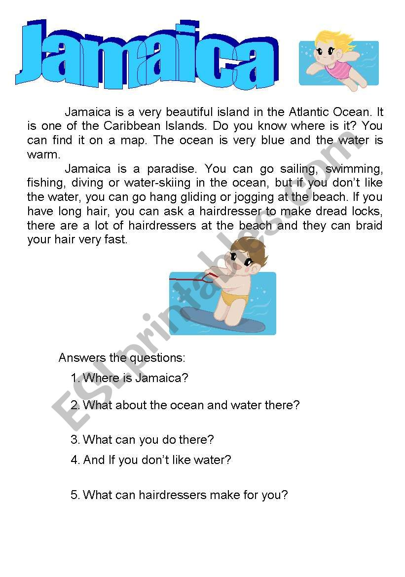 jamaica -read and answer worksheet