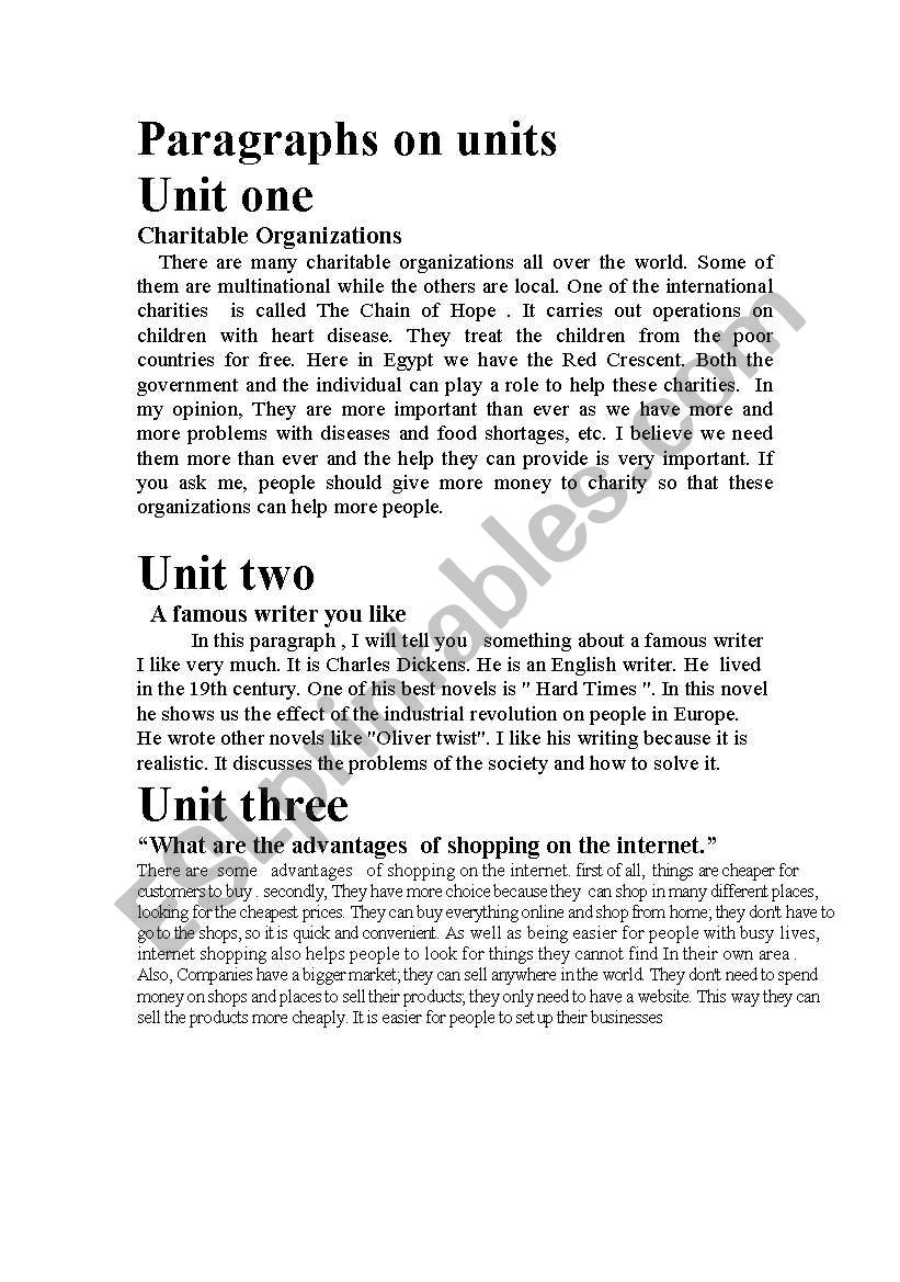 paragraphs  worksheet