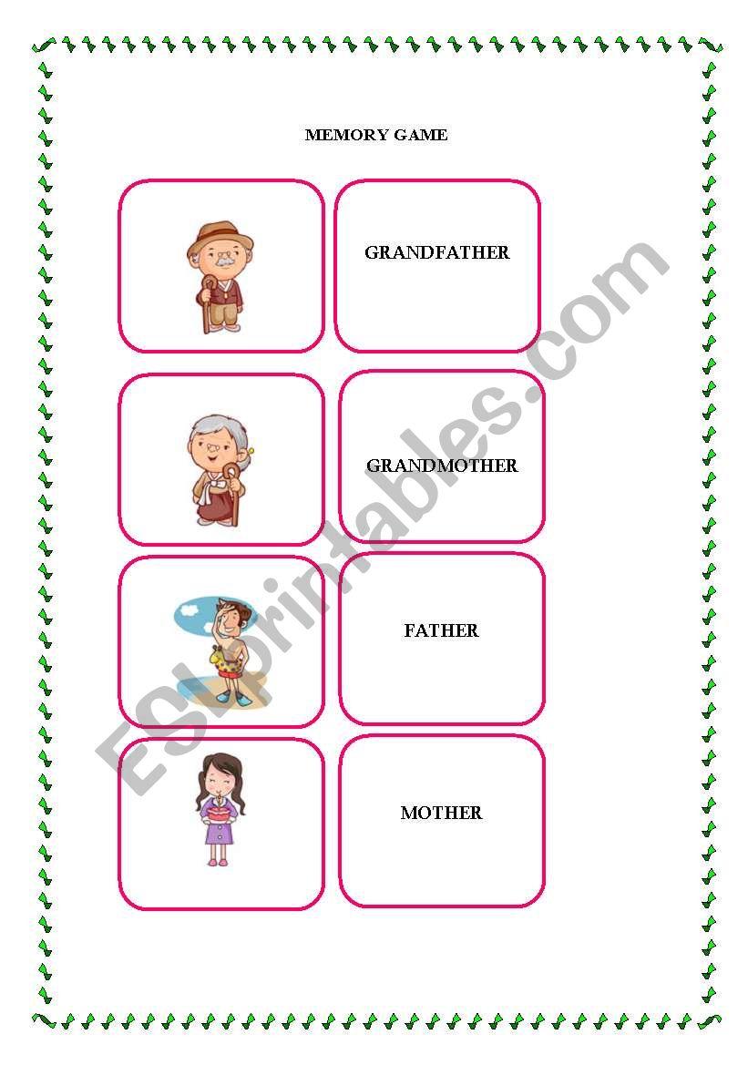 english worksheets memory game ii family