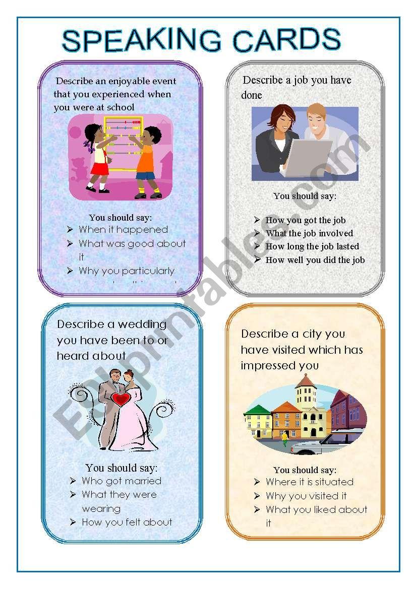 CARDS FOR SPEAKING SET 1 worksheet