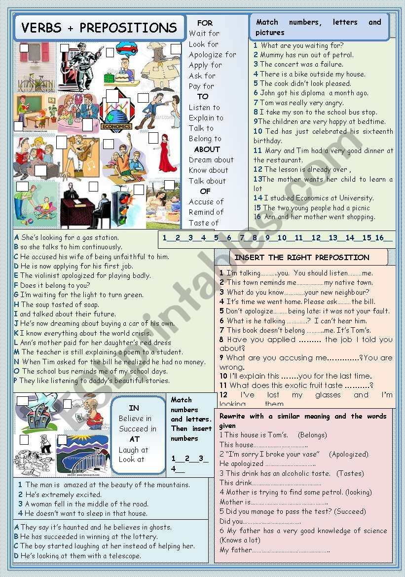 Verbs + prepositions worksheet
