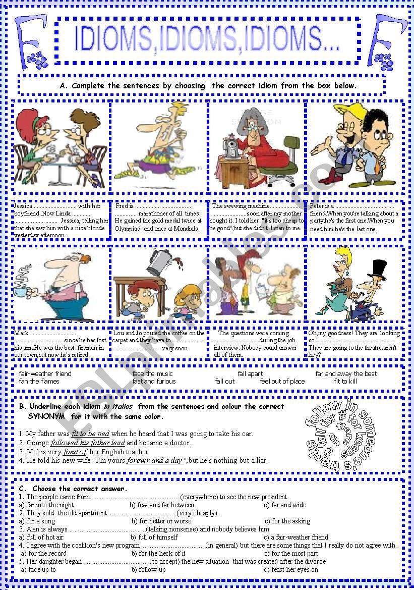 IDIOMS,IDIOMS,IDIOMS...(6) worksheet