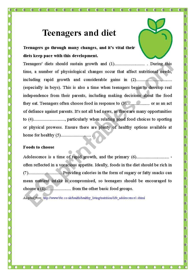 Teenagers And Diet Reading Comprehension Esl Worksheet By Bolisz