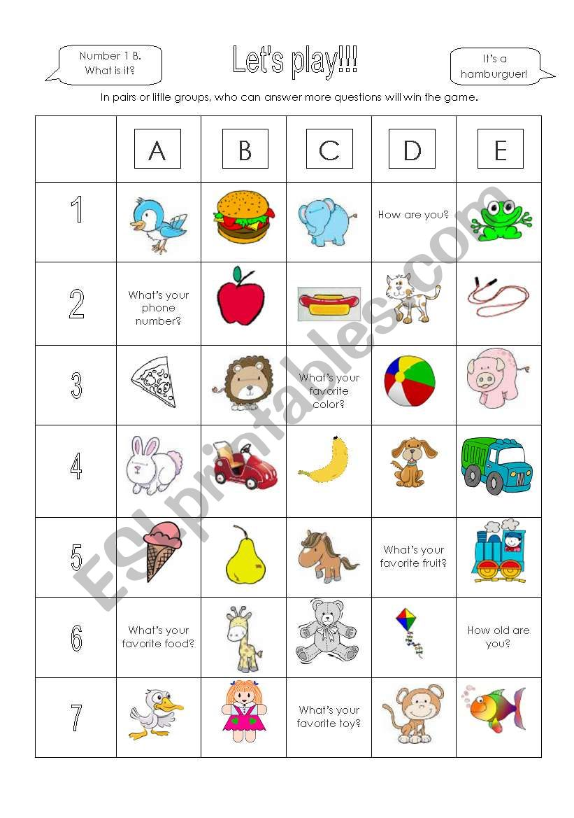 Let´s play a great game! worksheet