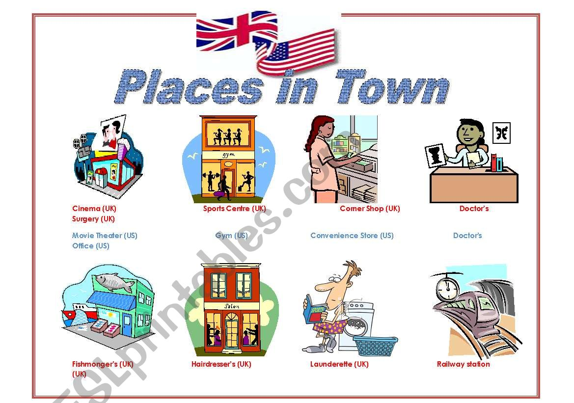 Places in Town UK and US worksheet