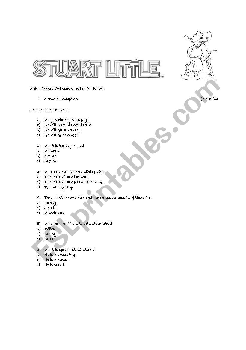 Watching A Movie Stuart Little Esl Worksheet By Blekia
