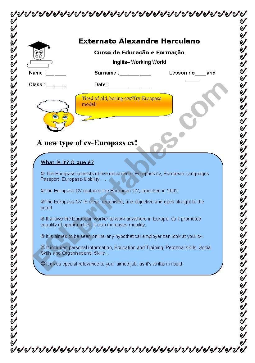 Europass Cv Esl Worksheet By Portugueseteacher
