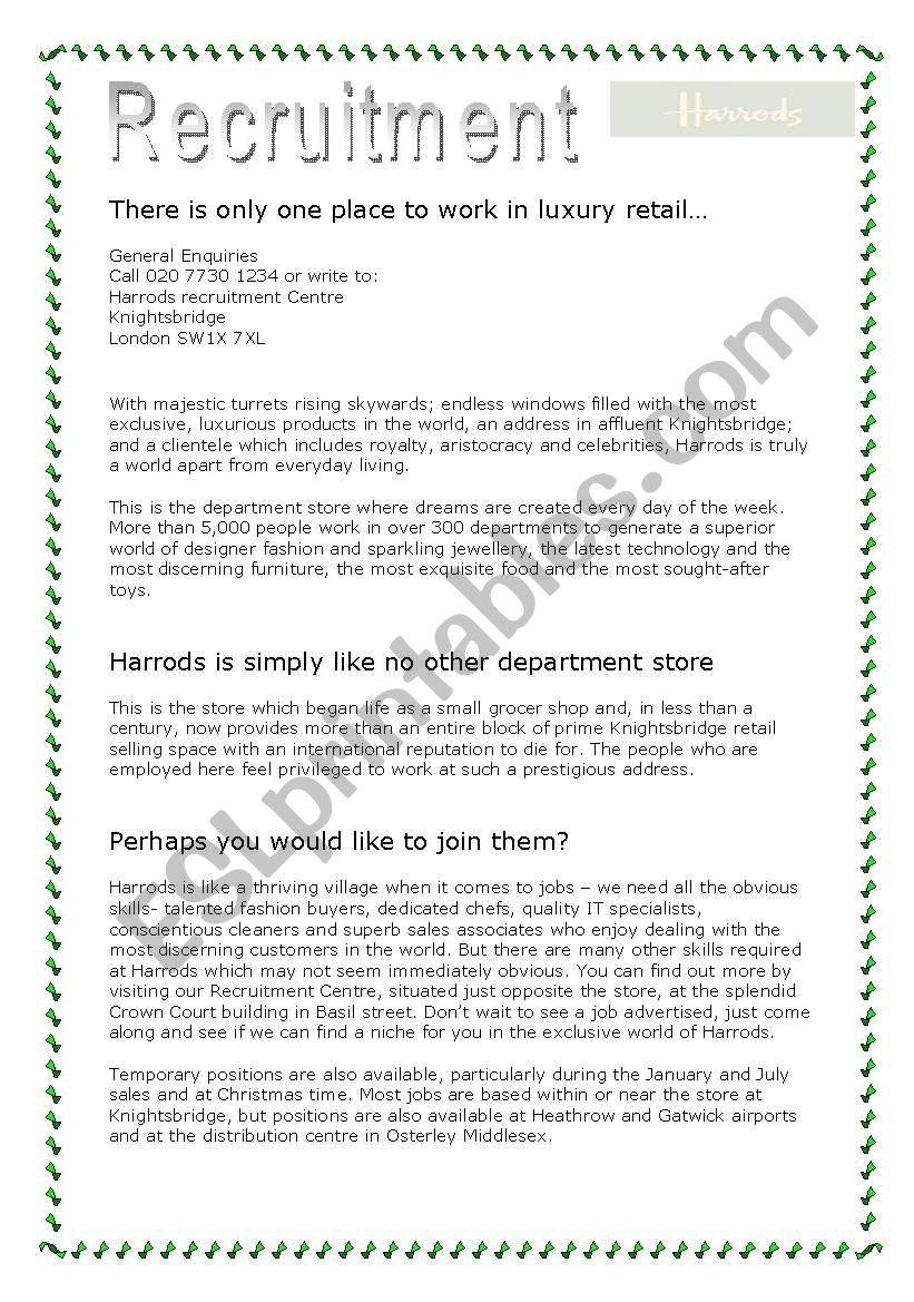 Harrods Recruitment worksheet