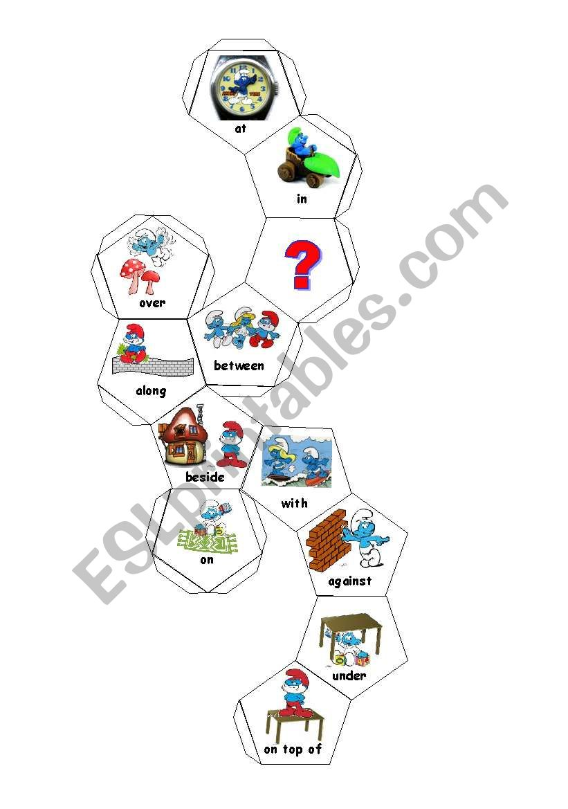 12 Sided dice with prepositions and sentence writing activity