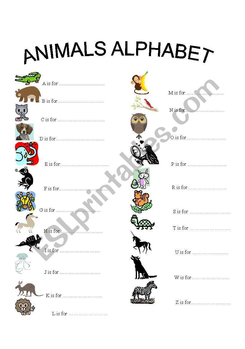 animals alphabet with each letter one animal esl worksheet by jupink. Black Bedroom Furniture Sets. Home Design Ideas