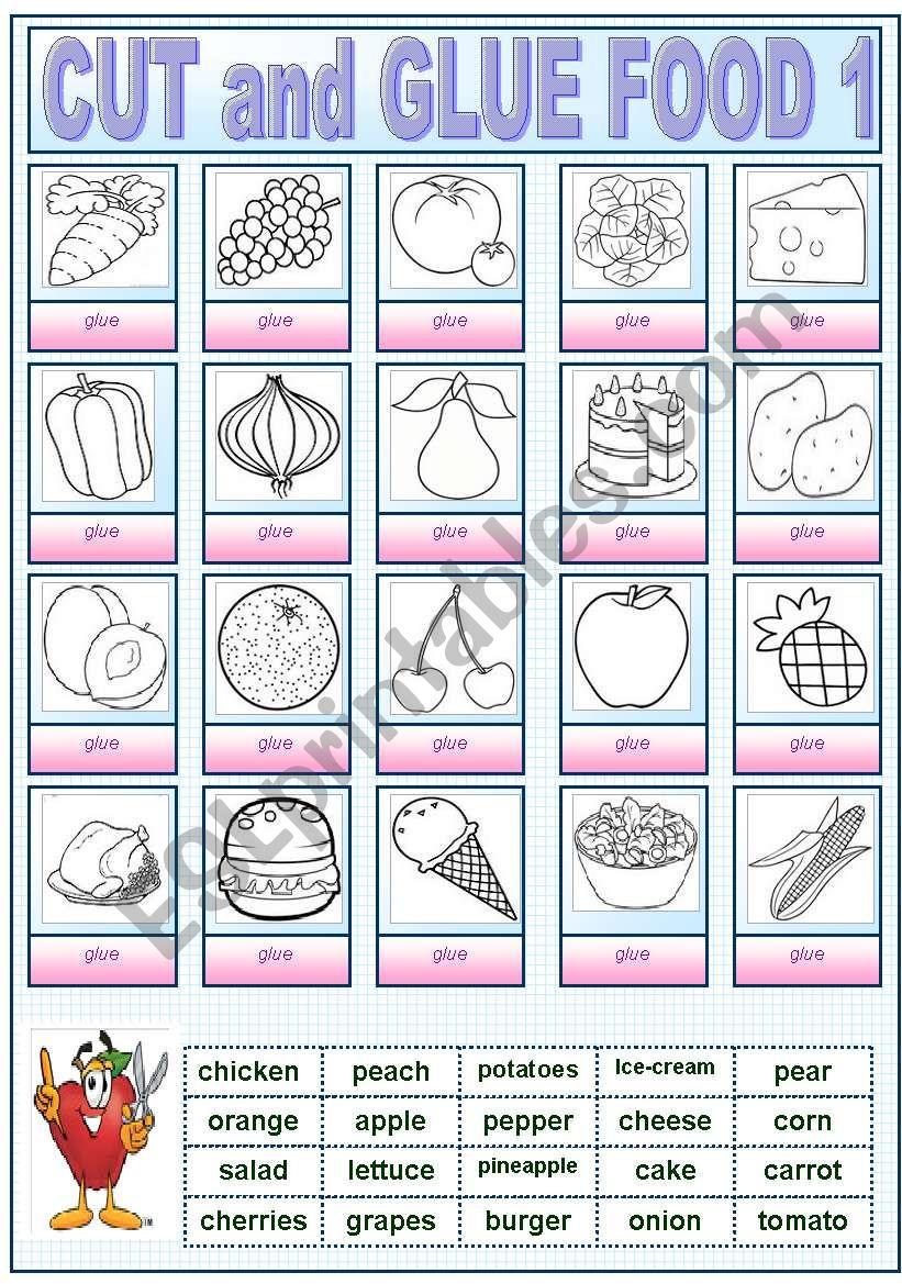 CUT AND GLUE FOOD1 worksheet