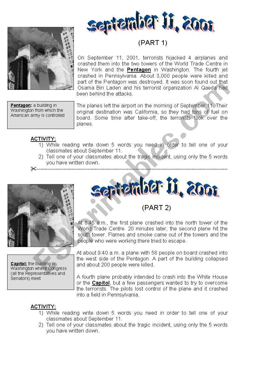 New York: September 11, 2001 - ESL worksheet by lena101