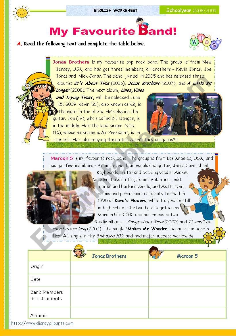 The 1st 45-minute-lesson (of 2) on the topic My Favourite Band -- Reading Comprehension for Upper Elementary and Lower intermediate students