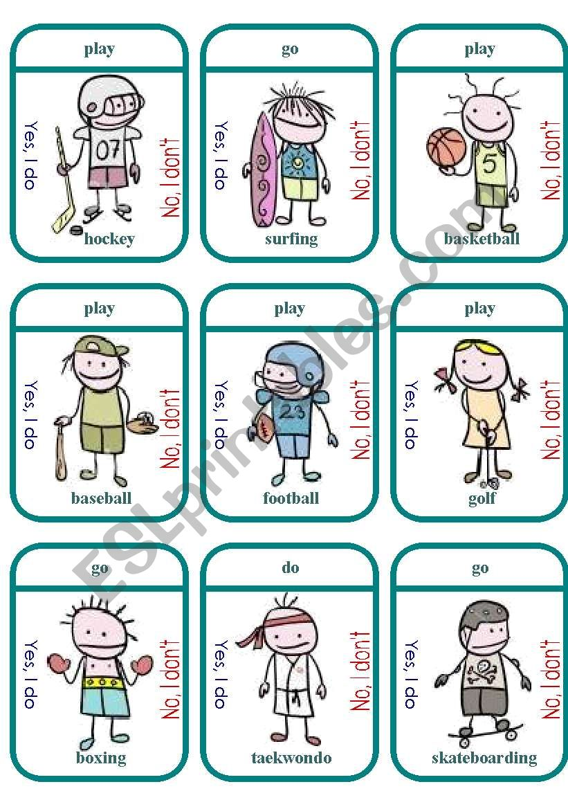 Do/Play/Go Sports Game Cards worksheet