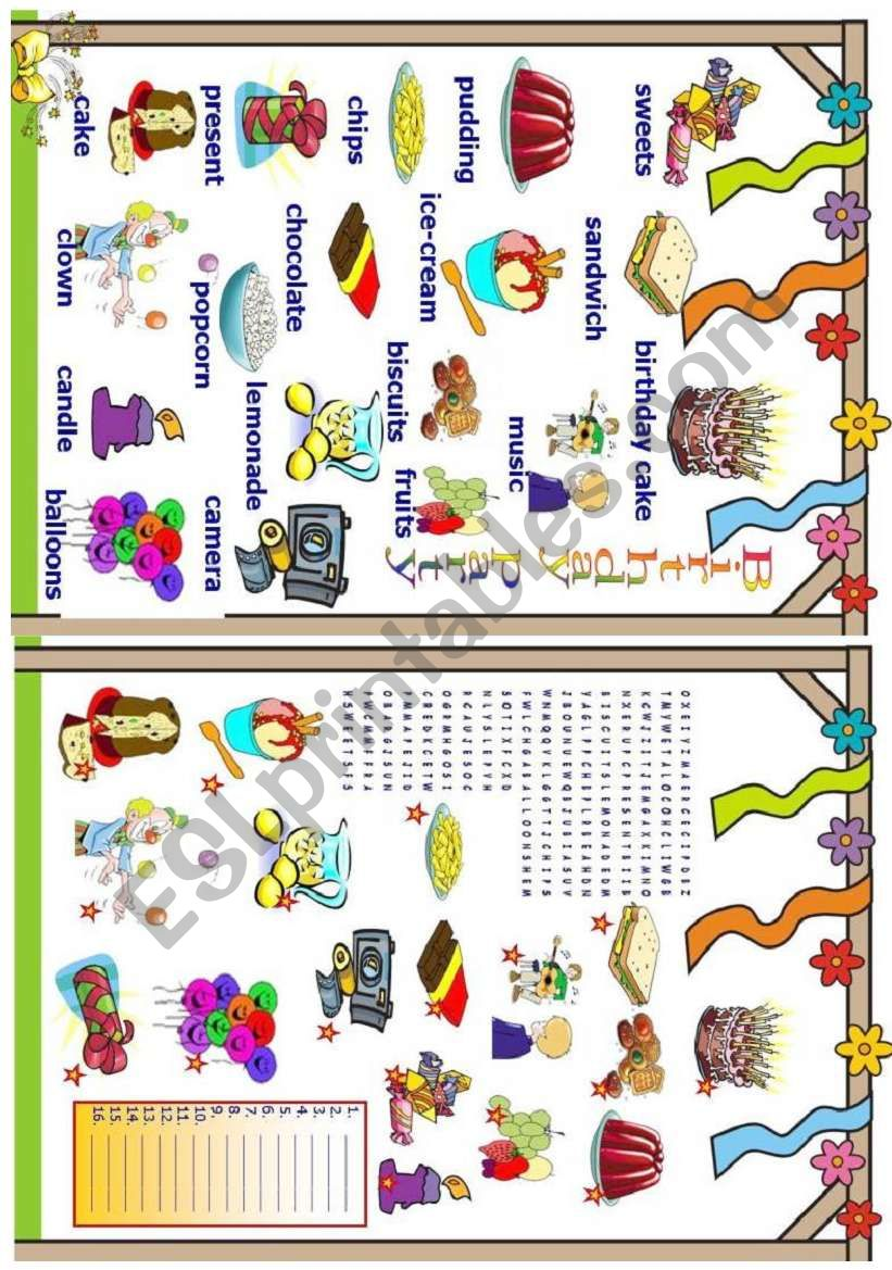 Birthday party worksheet