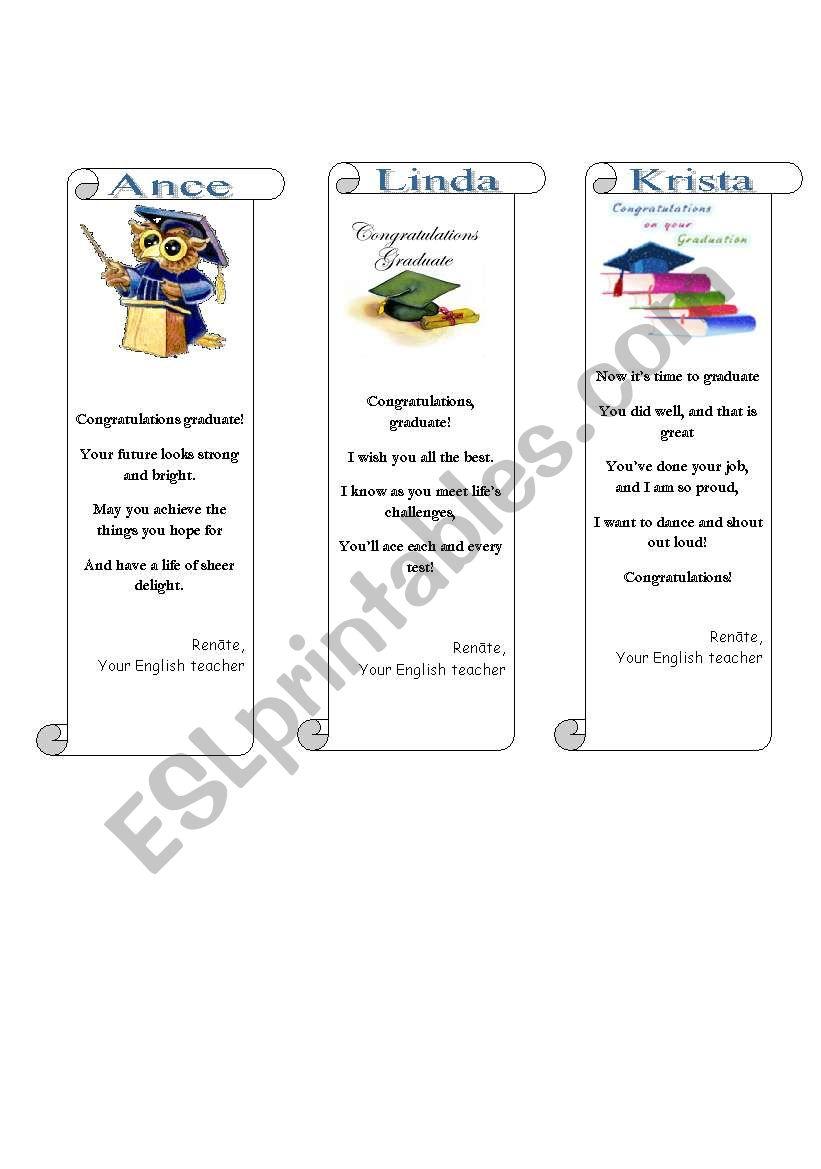 Graduation greetings/bookmarks (2/3)