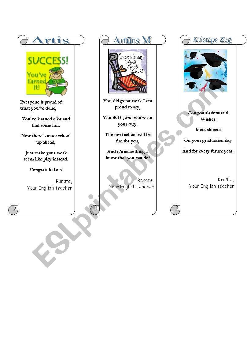 Graduation greetings/bookmarks (3/3)