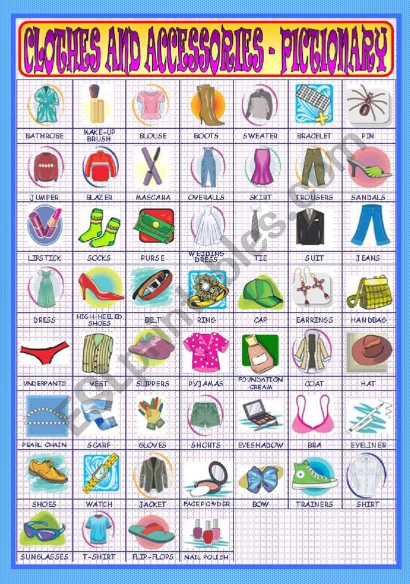 Clothes and Accessories - Pictionary