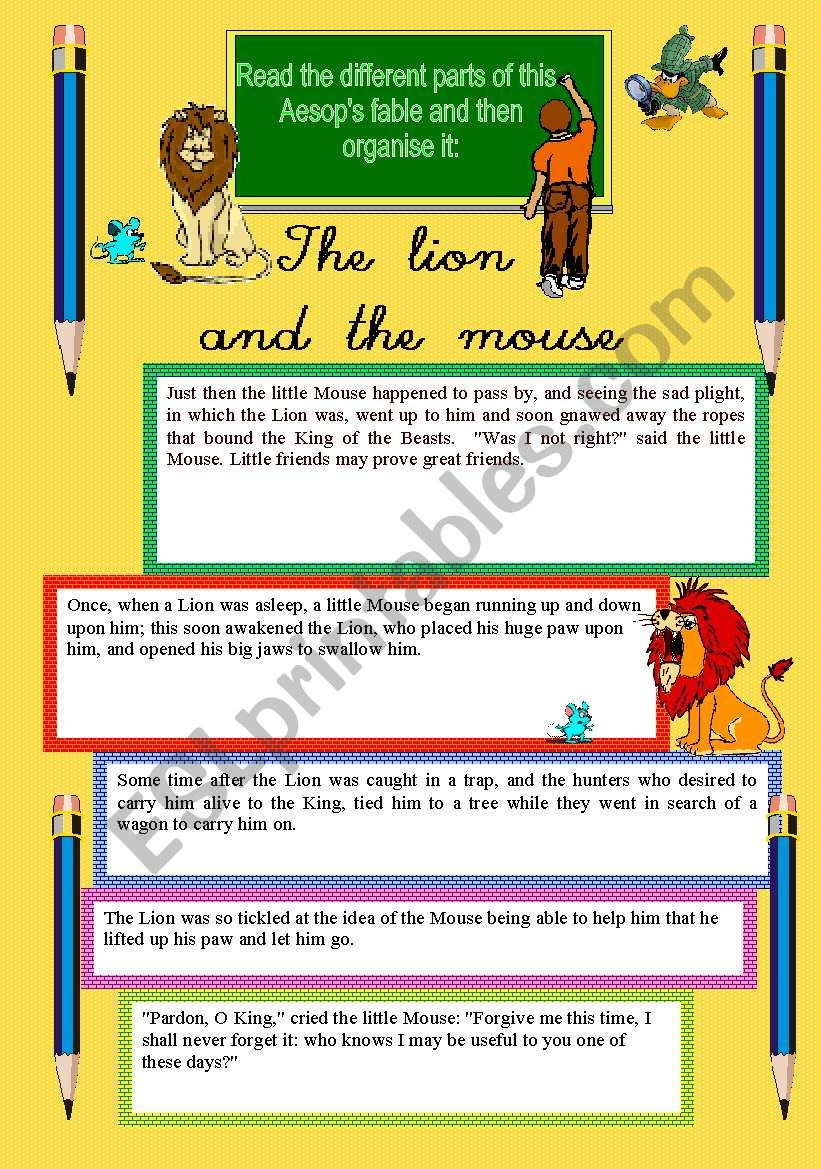 Fable: The lion and the mouse worksheet