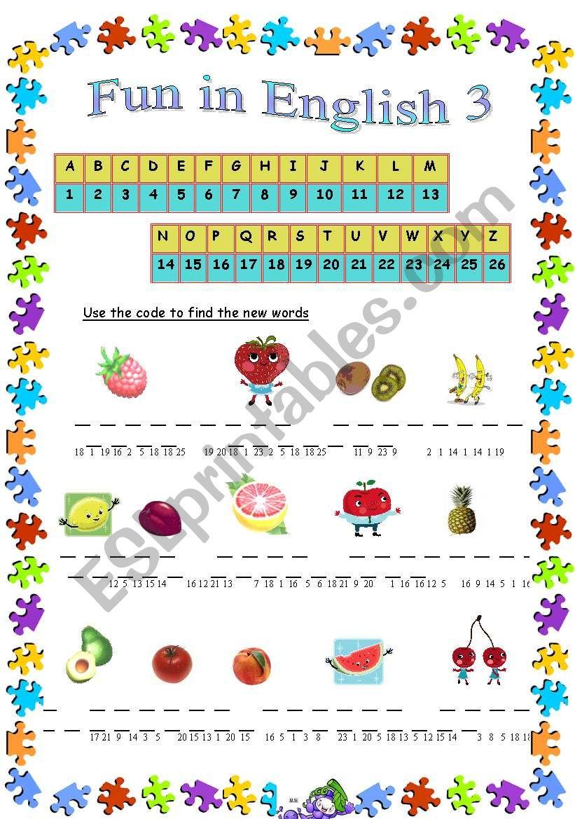Fun in English 3 worksheet