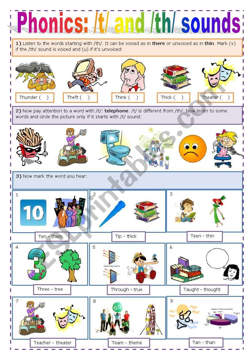 PHONICS - /T/ + /TH/ worksheet