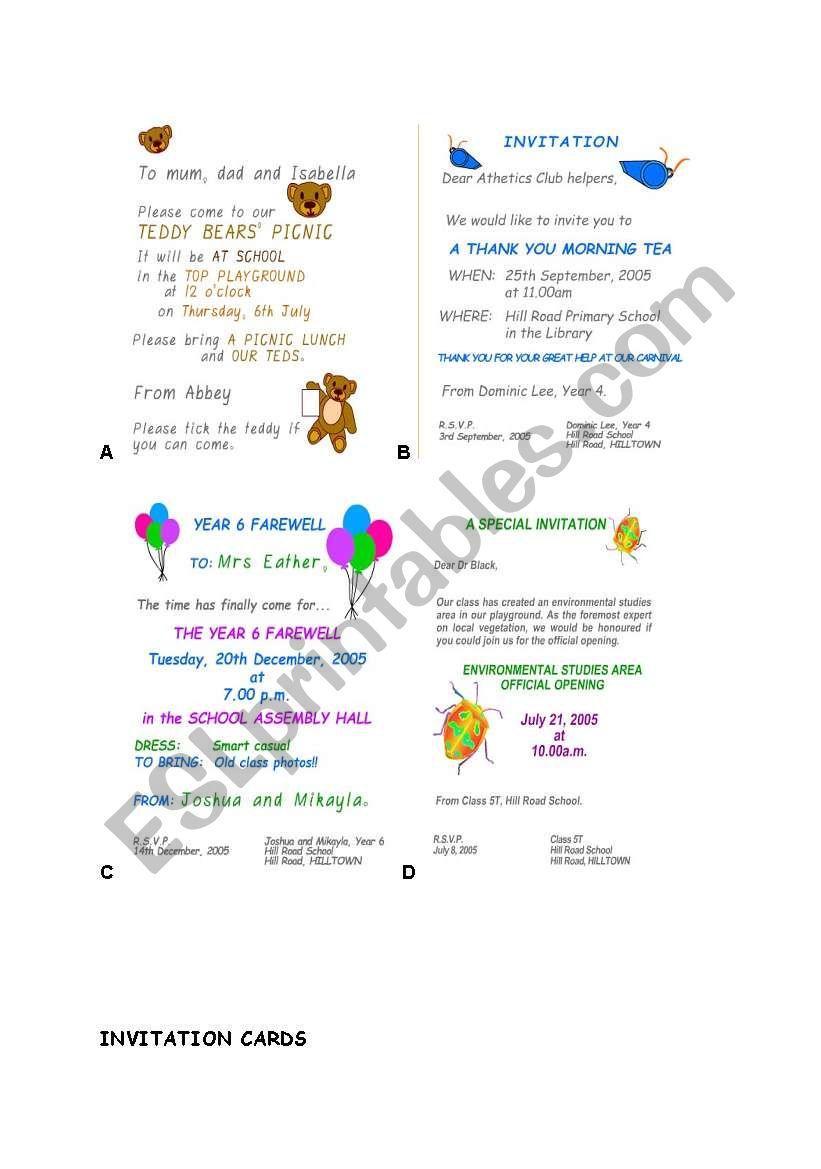 Invitation Cards Esl Worksheet By Dalgi
