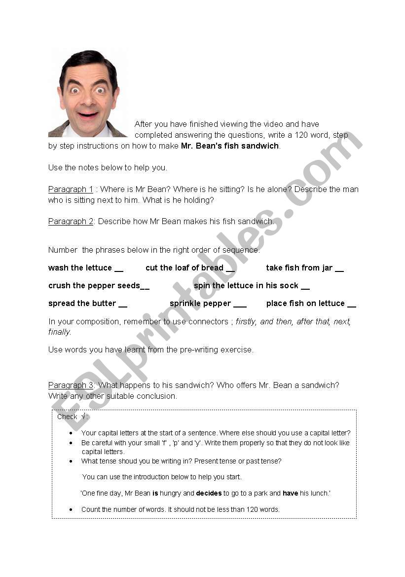 Mr Bean´s sandwich - writing exercise