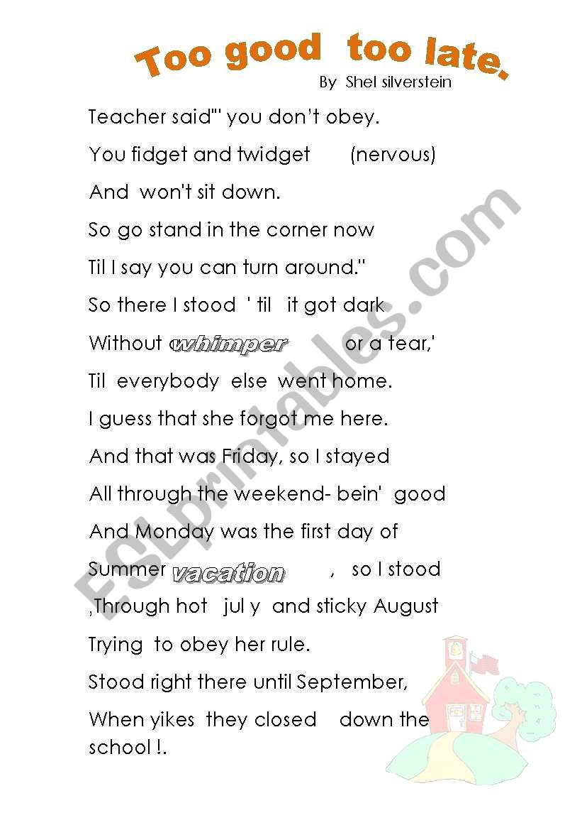 obedience poem great for the end of the year.