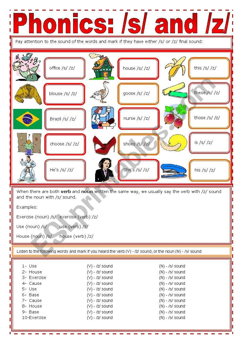Phonics: /s/ + /z/ worksheet